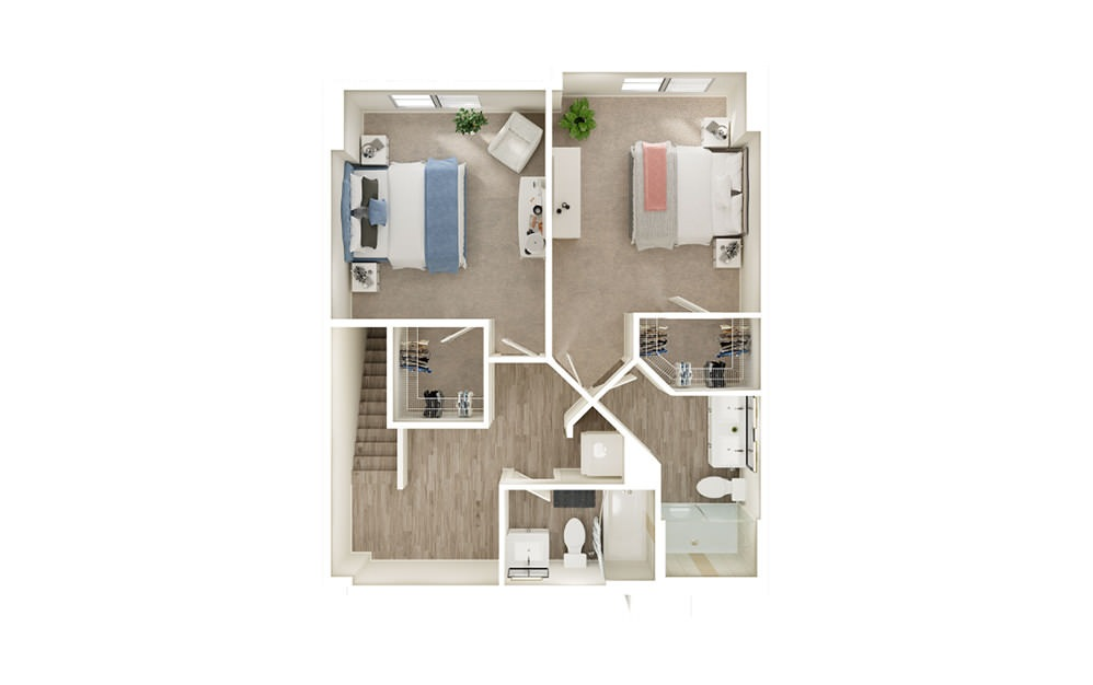 TH - 2 bedroom floorplan layout with 3 baths and 1438 to 1503 square feet. (Floor 2)